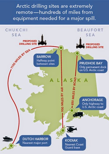 Arctic drilling sites are extremely remote - hundreds of miles away from equipment needed for a major spill. (Credit: www.pewenvironment.org) Click to enlarge.