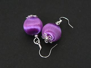 biżuteria z półfabrykatów - oplecione na fioletowo (kolczyki)