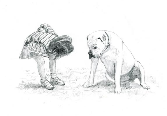 девочка и собака набросок