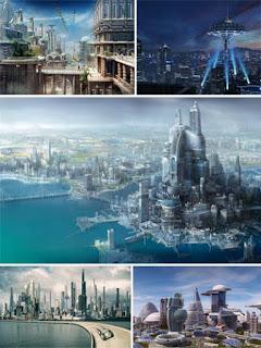 Футуристические города в изображениях на работах художников