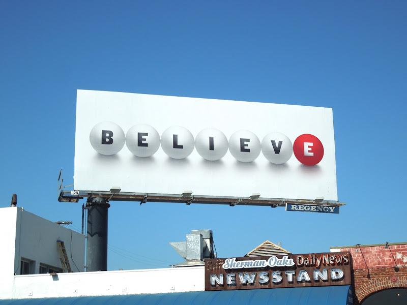 Believe lottery teaser billboard