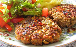 Mashed Potato Patties with lentils and pumpkin seeds