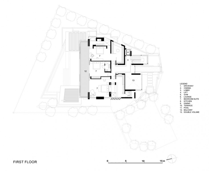 First floor plan of Head Road 1843 by Antoni Associates