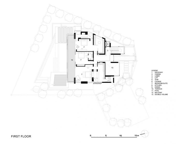 First floor plan of Head Road 1843 by Antoni Associates