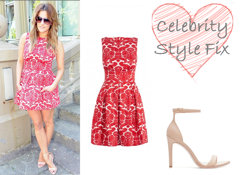Caroline Flack XFactor Red Damask Dress