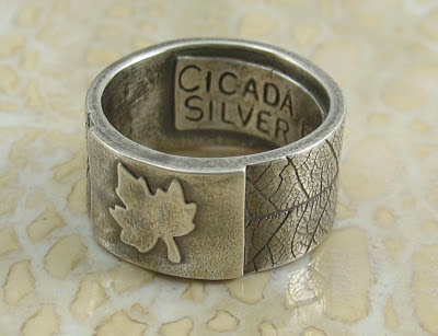 Cicada Silver:  Fine silver maple leaf ring