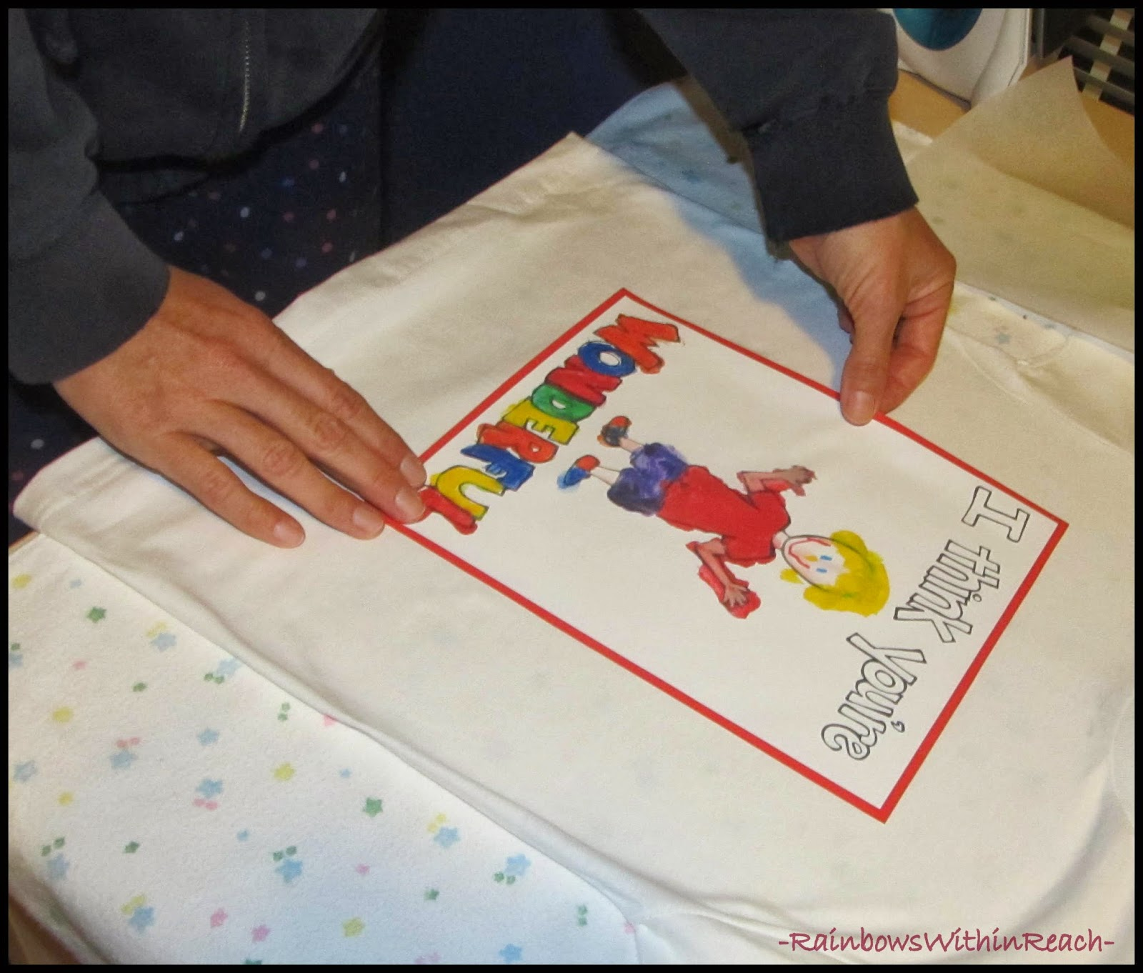 Personalized Tshirt Painting Ready for Iron-on Application via RainbowsWithinReach