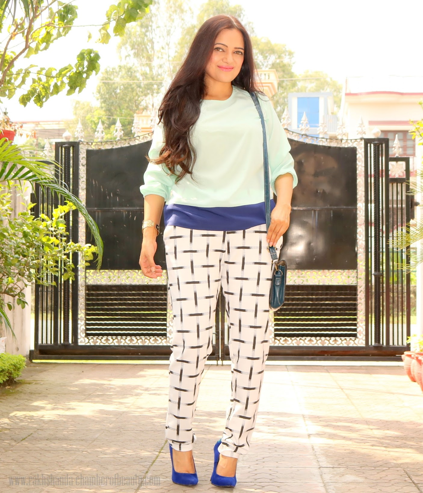 Mint blouse & checked pants- OOTD, Stalkbuylove tops, The Shopper's Closet monochrome pants, fashion trends 2015, Indian fashion blogger, Chamber of Beauty