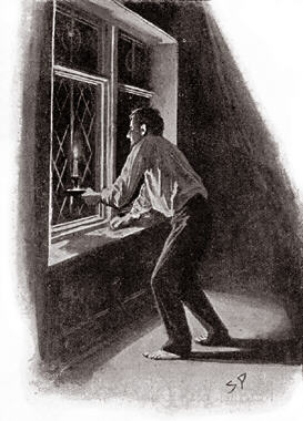 Barrymore was crouching at the window with the candle held against the glass. His profile was half turned towards me, and his face seemed to be rigid with expectation as he stared out into the blackness of the moor. For some minutes he stood watching intently. Then he gave a deep groan and with an impatient gesture he put out the light.