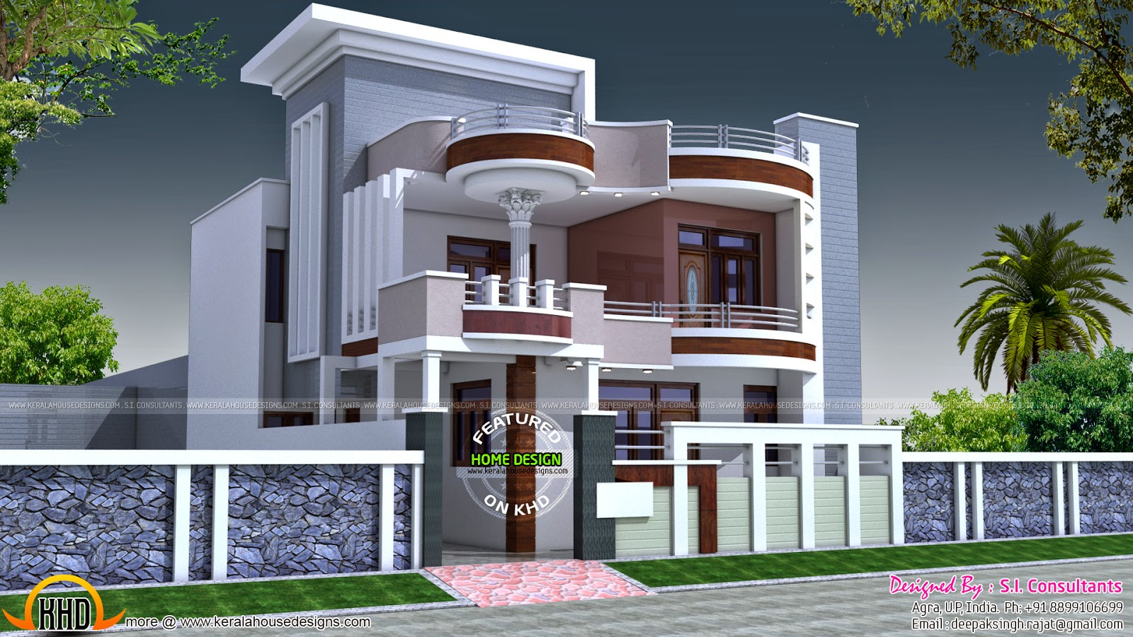2875 square feet flat roof home keralahousedesigns for Home designs indian style