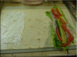preparing the flatout flat bread
