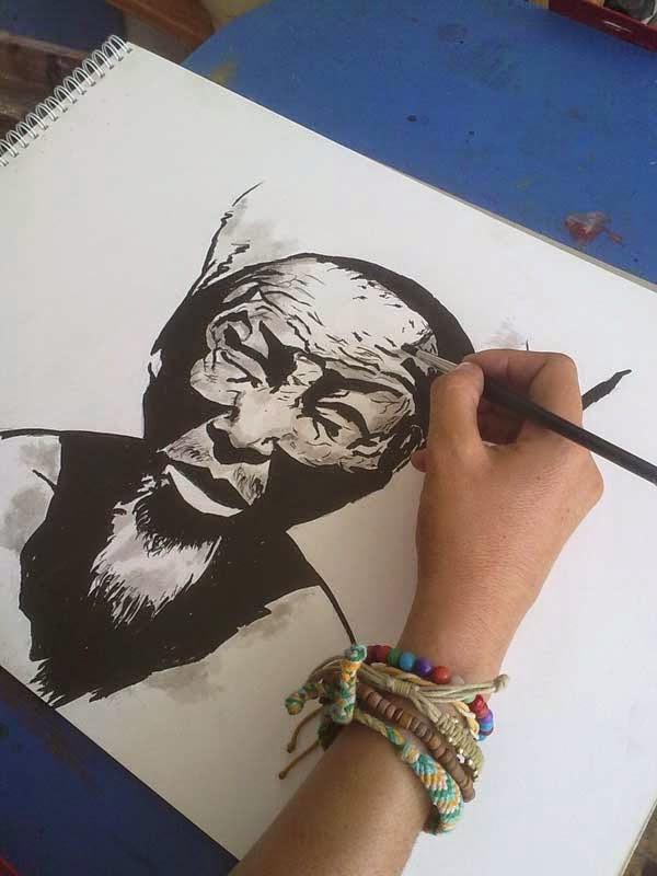 rostro de anciano asiatico