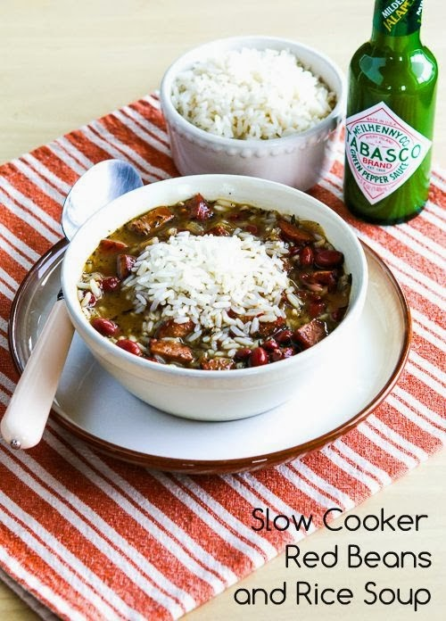 Slow Cooker Red Beans And Rice Soup from Kalyn's Kitchen featured on SlowCookerFromScratch.com