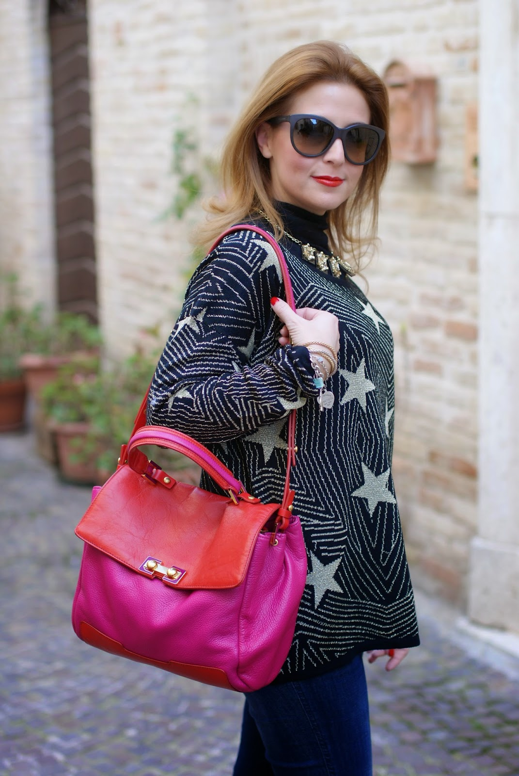 Mismash starry sweater, Marc by Marc Jacobs satchel, maglione con stelle, Fashion and Cookies, fashion blogger
