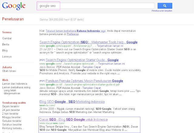 Hasil 5 Besar SERP Google Indonesia untuk Keyword Google SEO