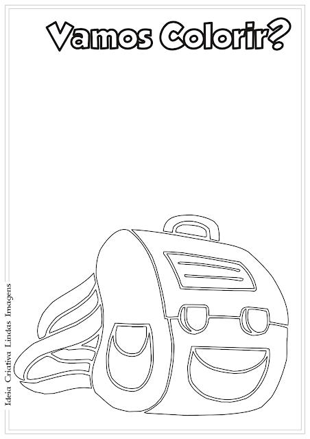 Mochila - Volta às Aulas desenho para colorir