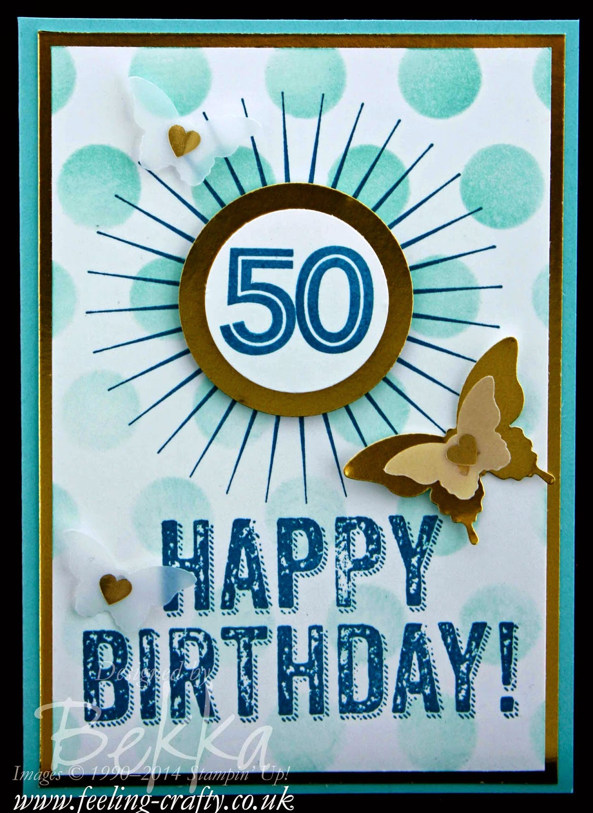 Card for a 50th Birthday using Birthday Surprise from Stampin' Up! UK