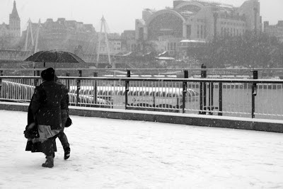 Snow settles on South Bank