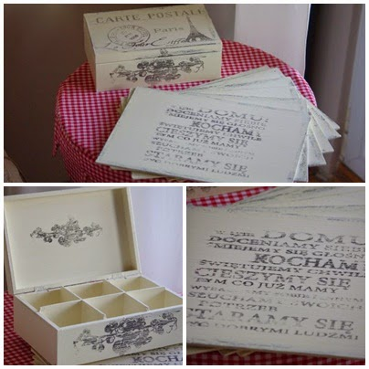 szkatułka shabby, szkatułka z grafiką, podkładki pod talerz z grafiką