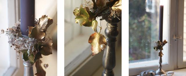 Elegant blomsterkrans til kalenderlyset i grå og gyldne farver