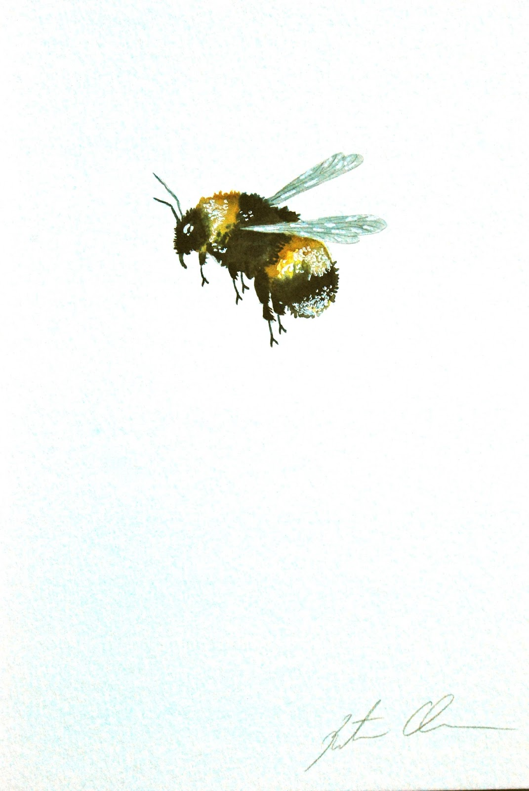 Painting in Trees: Bumble Bee Flying