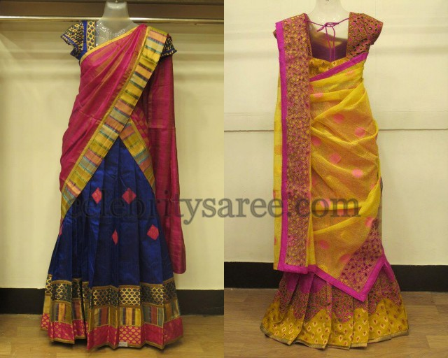 Silk Cut Work Half Sarees