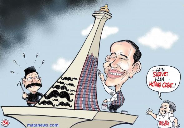 Jokowi repeint le Monas, symbole de Jakarta, de petits carreaux, tandis que Foke y dessine sa moustache (www.matanews.com).