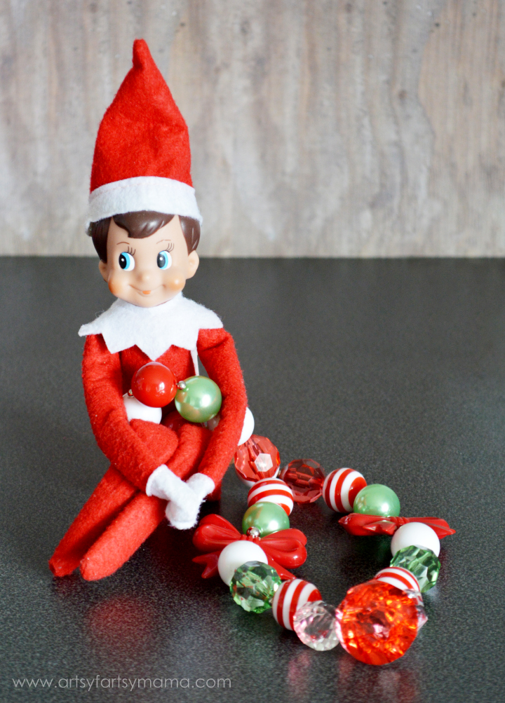 Holly Jolly Christmas Necklace - Elf on the Shelf Idea at artsyfartsymama.com