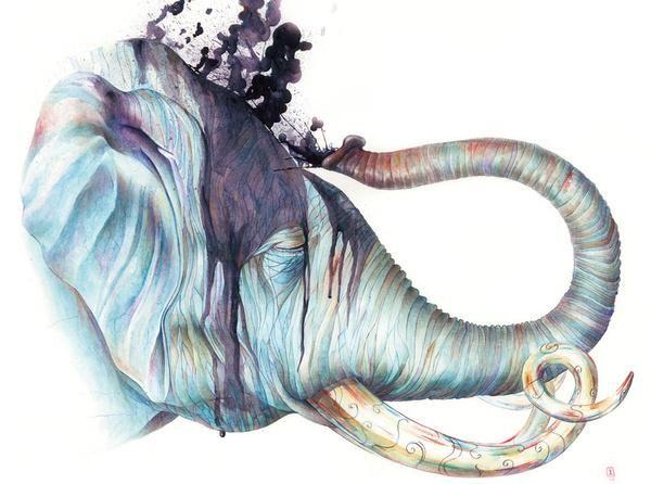 Ilustración de un elefante a color en acuarela