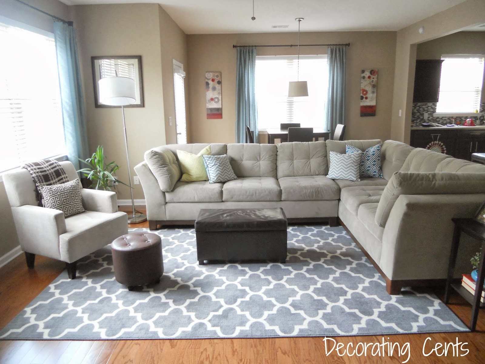 Decorating cents new family room rug for Living room rug placement