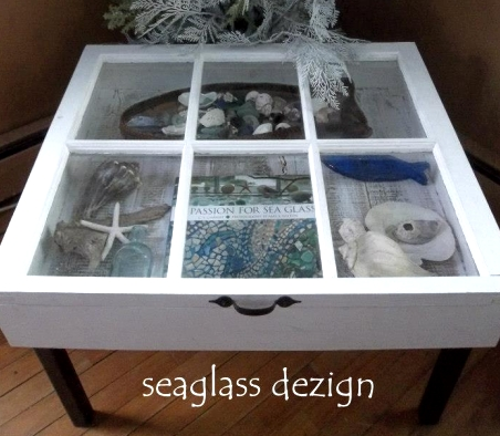 And lastly an old window is upcycled into a fabulous curio side table