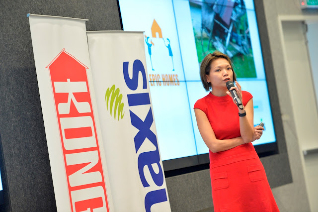 Sulin Lau, Maxis' Head of Marketing Services, talking about the Kongsi Home Project, at the press conference earlier today at Menara Maxis