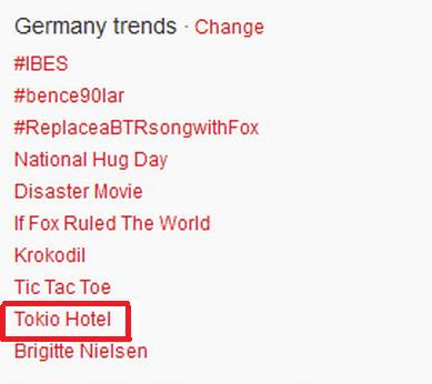 Tokio Hotel Trending Topic en Alemania TT