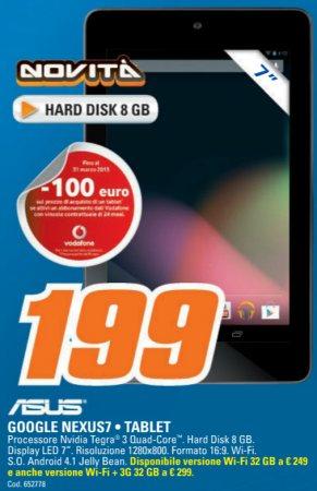 In italia il modello da 8 GB del Nexus 7, il tablet di Google con chipset tegra 3, è venduto al prezzo strano di 199 euro come il modello da 16 GB