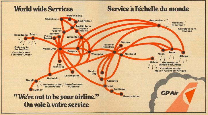 Airlines Past & Present: CP Air Route Map & Schedule October 1978