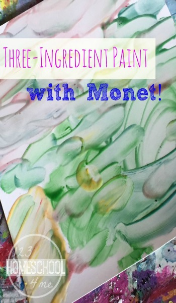 3 Ingredient Finger Paint Recipe for Kids - Love this idea for painting like famous artists Monet for kids to explore! Perfect for preschool, kindergarten, 1st grade and more!