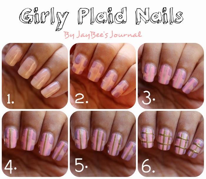pakistani nail art blogger, girly plaid nail art tutorial