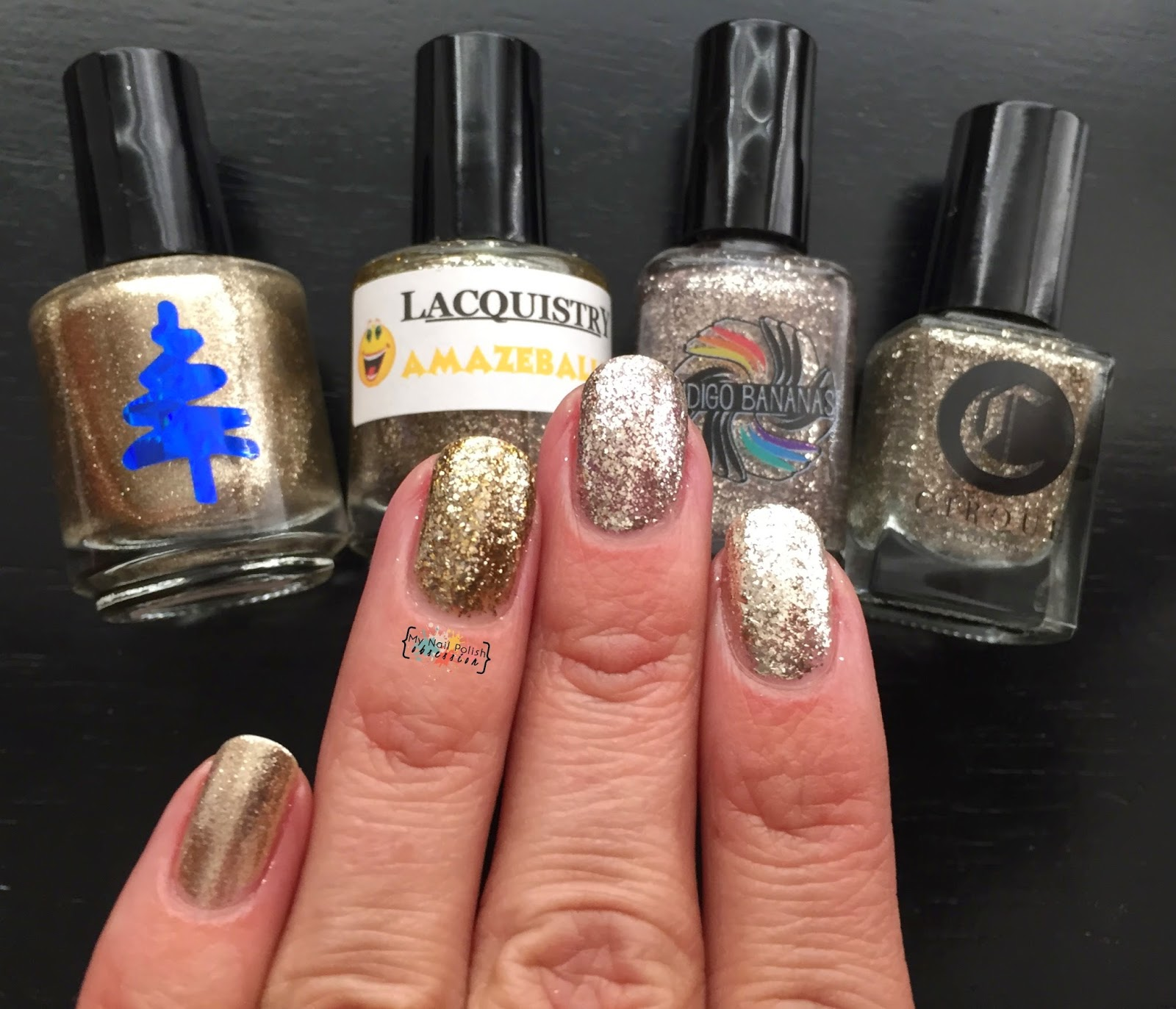 Battle of the Metallic Flakes: Cirque Colors Mirror Mirror, Indigo Bananas Moonlight, Lacquistry Amazeballz & Lumina Lacquer Tinseltown
