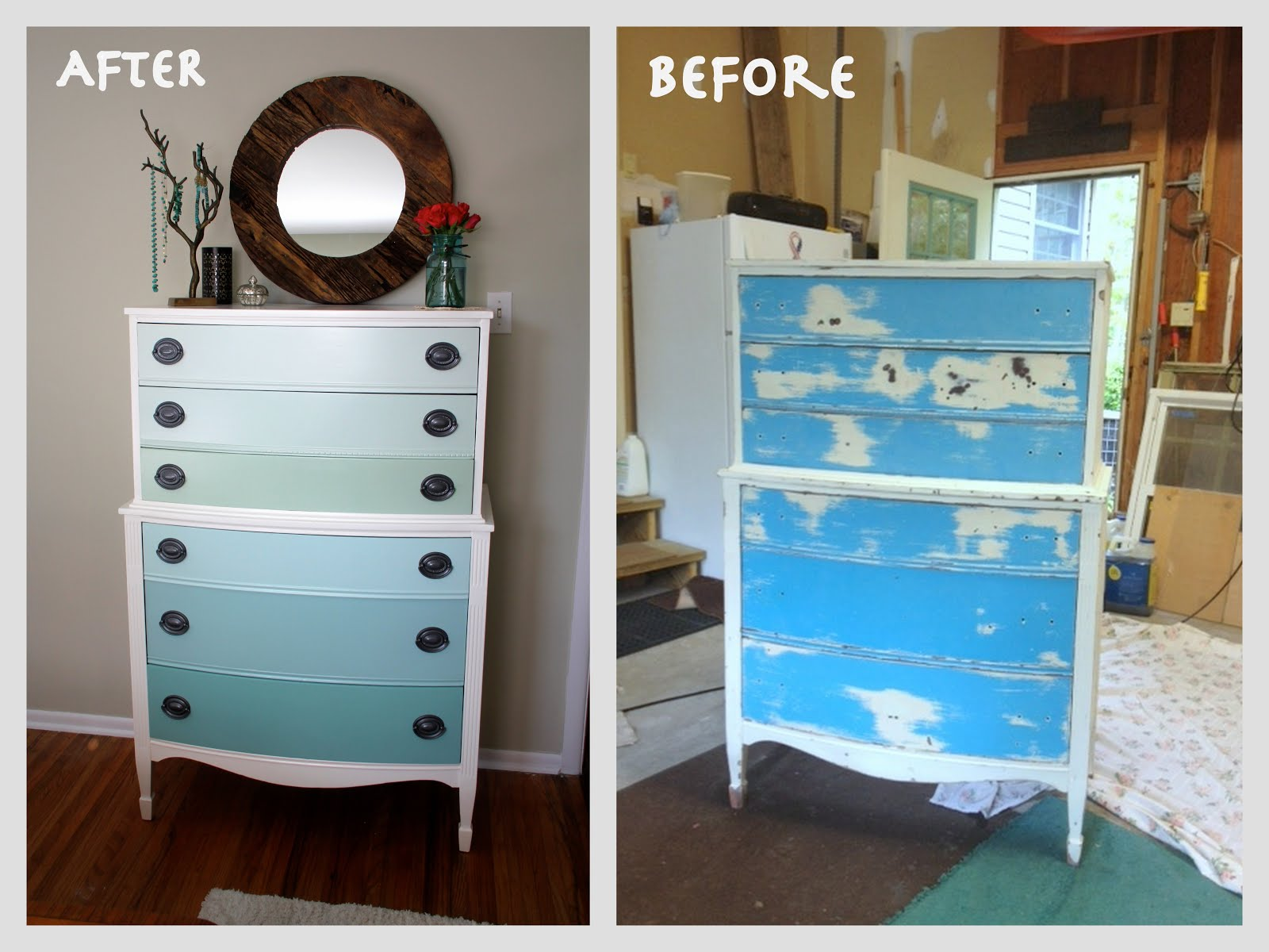 nature inspired handcrafted jewelry ombre painted dresser tutorial how to refinish old furniture in 10 easy steps