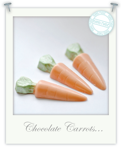 Hand-made chocolate carrots by Torie Jayne