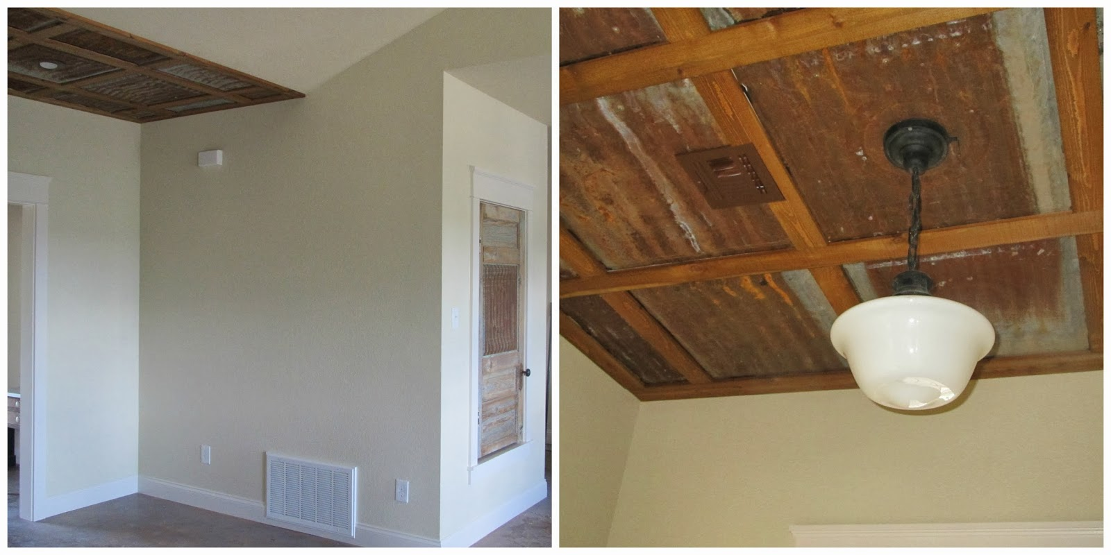 kitchen ceiling vaulted slanted images rustic with drum of barn cheap tin ideas ceilings barns pendant wood bathroom