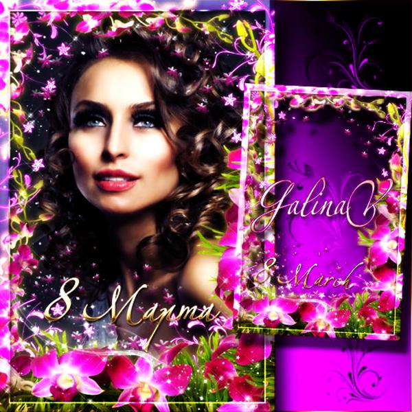 Cadre en fleurs pour 8 Mars - Flower Holiday Frame — Pink Orchids on ...