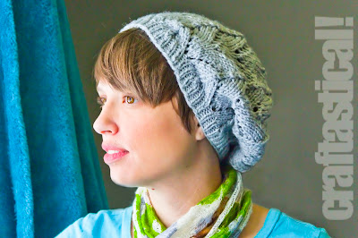 Gray Grace Lace Beret slouchy knit hat