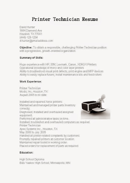 great sample resume resume samples printer technician resume sample