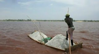 Lake Retba in Senegal East Africa is at its height of rosy pinkness during the dry season between November and June.