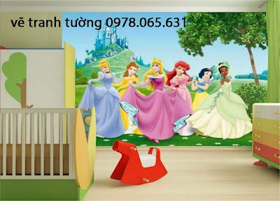vẽ tranh tường phòng ngủ công chúa,cổ tích cho bé