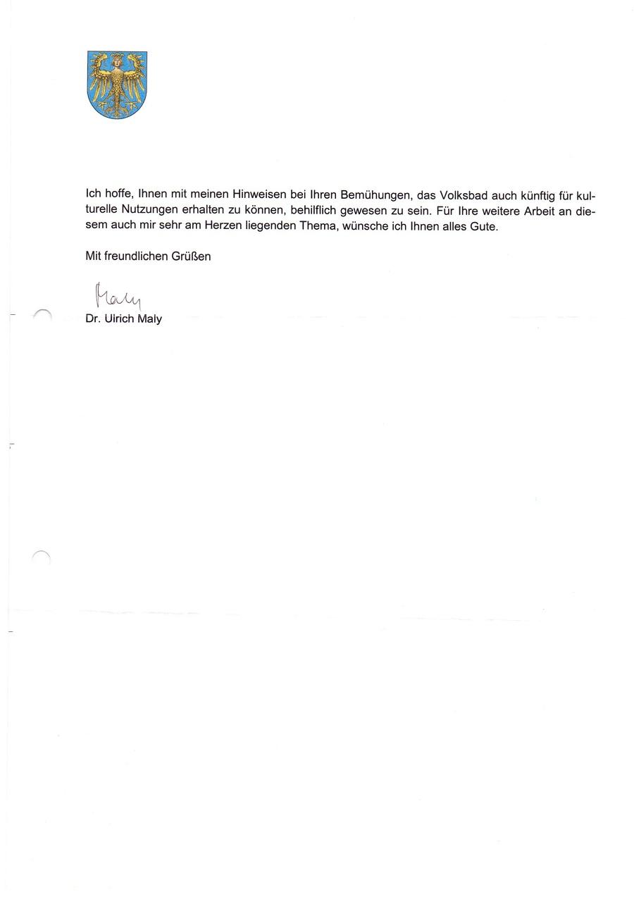 Antwortschreiben vom 29.12.2012
