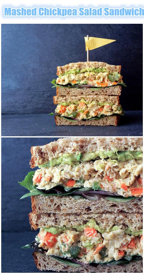 Mashed Chickpea Salad Sandwich