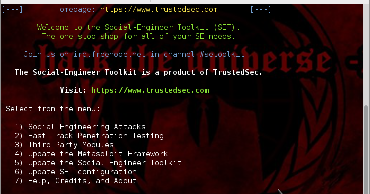 how to use social engineering toolkit over internet