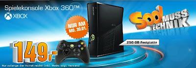 Xbox 360 mit 250 GB am 30.01.2012 für 149 Euro bei Saturn